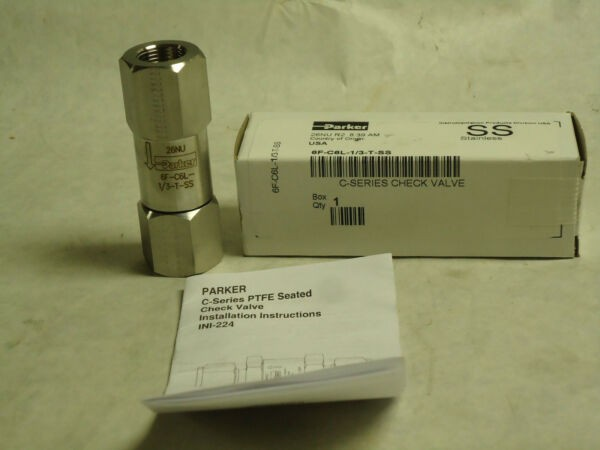 NEW PARKER C-SERIES PTFE SEATED CHECK VALVE 6F-C6L-1/3-T-SS 3/8