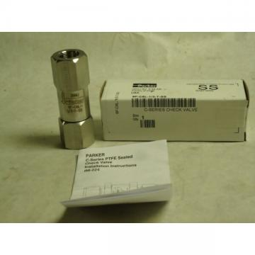 "NEW PARKER C-SERIES PTFE SEATED CHECK VALVE 6F-C6L-1/3-T-SS 3/8"" STAINLESS"